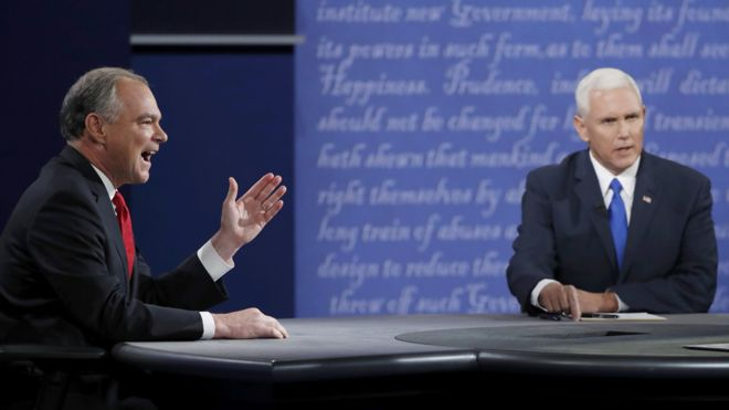 Kaine and Pence at debate