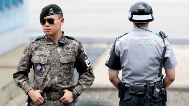 South Korean solders at a border village