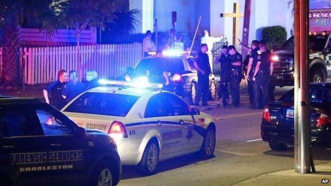 Police car at scene of shooting in Charleston