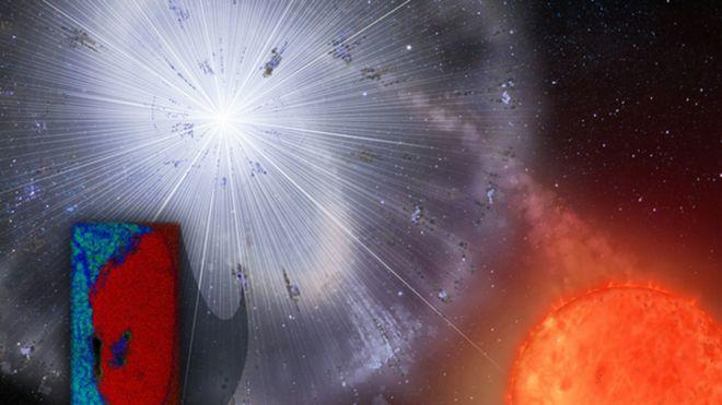 Ilustração da explosão estelar que deu origem ao grão encontrado no meteorito