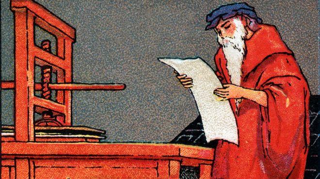 Gutenberg con su impresora.