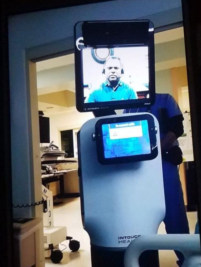 The video-link robot in hospital