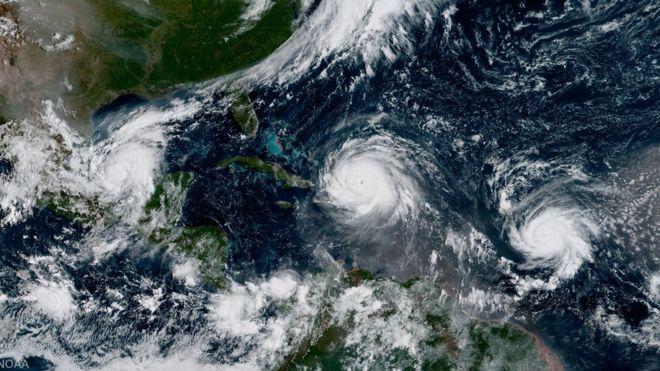 Vista por satélite de Irma, Katia y Jose.