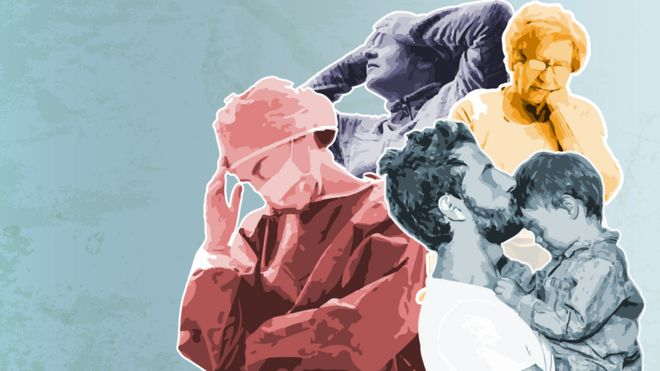 Ilustración personas con angustia y diferentes trastornos por la cuarentena.