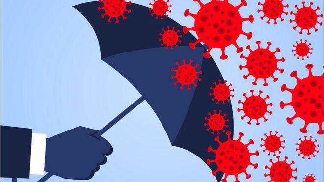 ilustração: guarda-chuva protegendo contra vírus