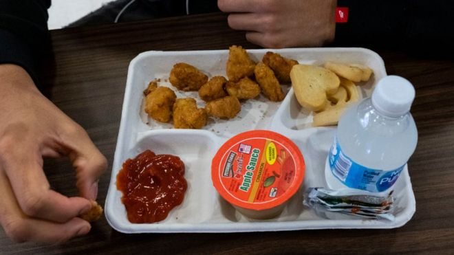 A US high school lunch of nuggets, biscuits, apple sauce and water