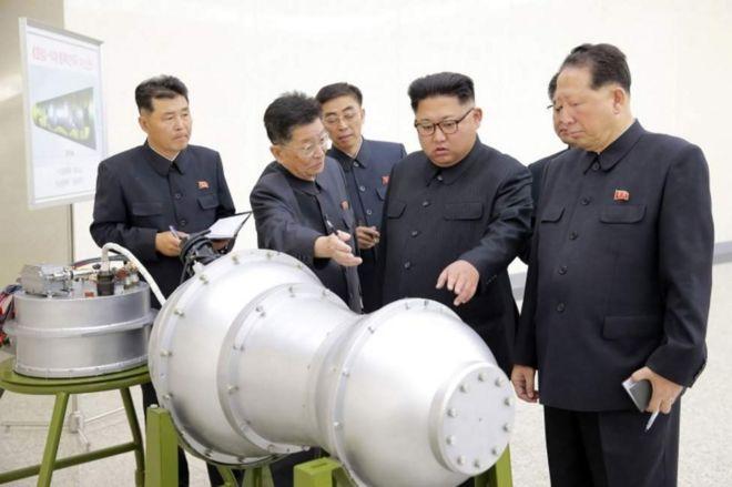 Mapema Jumapili, shirika la habari la taifa la Korea Kaskazini lilitoa picha ambayo ilidaiwa kuwa ya kiongozi wan chi hiyo Kim Jong-un akisimamia bomu la haidrojeni