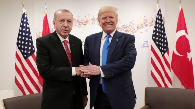 Дональд Трамп и Реджеп Тайип Эрдоган в Осаке 29 июня 2019 года