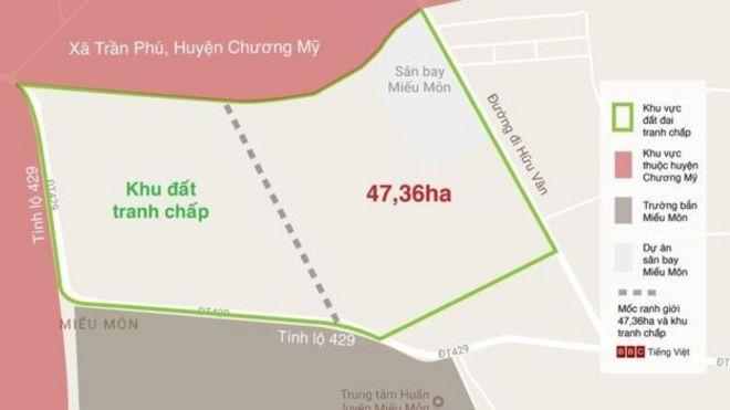Bản đồ đất đai Đồng Tâm và các vị trí tranh chấp