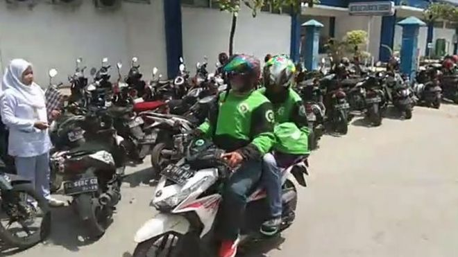 The motorcyclists leaving the hospital