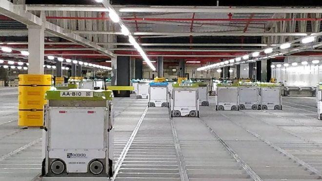 Inside Ocado's burning robotic warehouse - BBC News