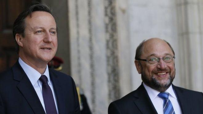 Дэвид Кэмерон с президентом Европейского парламента Мартином Шульцем