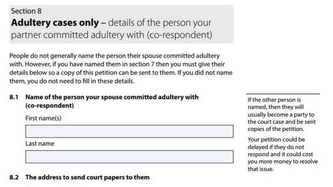 New divorce form 'invites name and shame' of adulterers