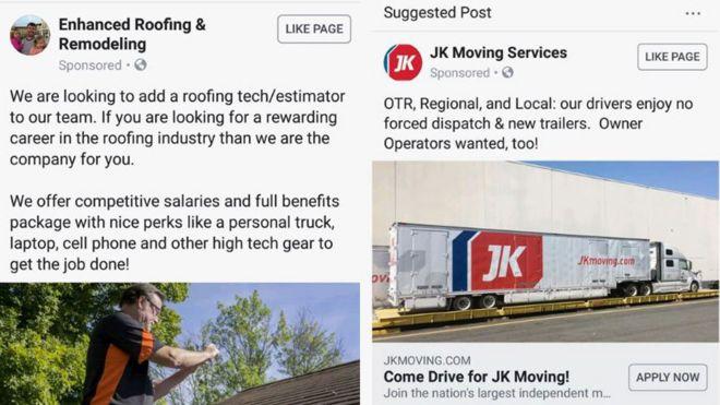 Facebook Accused Of Job Ad Gender Discrimination Bbc News