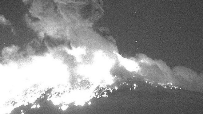Explosión del volcán Popocatépetl