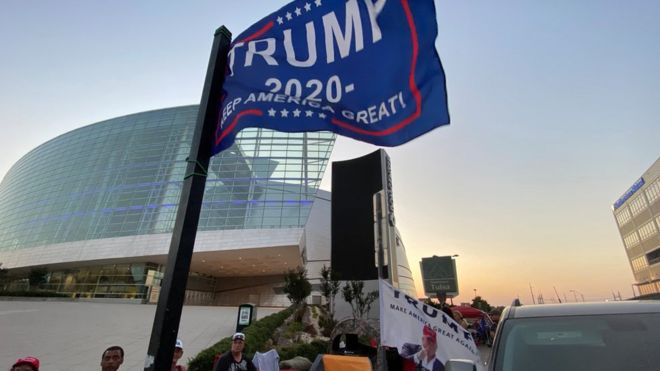 Supporters of US President Donald Trump camp outside the BOK Center, the venue for his upcoming rally, in Tulsa, Oklahoma on 17 June 2020.