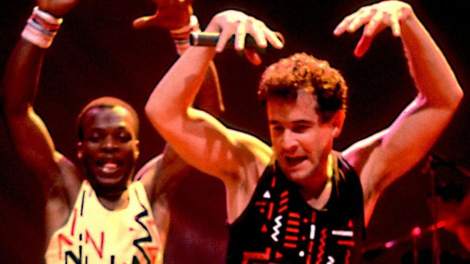 Johnny Clegg (R) performing in 1988