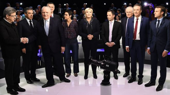 French presidential candidates prepare to go head to head in the second of three live televised debates, in La Plaine-Saint-Denis, France, 4 April 2017