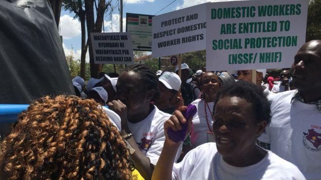 Maadamano ya wafanyakazi wa nyumbani Nairobi