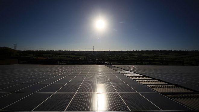 Solar panels at Worthy Farm, Somerset
