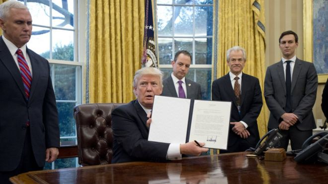 trump executive order reverses foreign abortion policy bbc news