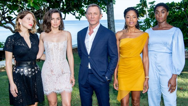 Lea Seydoux, director Cary Joji Fukunaga, Ana de Armas, Daniel Craig, Naomie Harris and Lashana Lynch attend the Bond 25 film launch at Ian Fleming's home in Jamaica