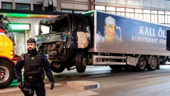 This picture taken on April 8, 2017, shows the truck that crashed into the Ahlens department store at Drottninggatan in central Stockholm the day before