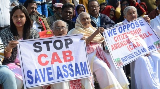 Residents of Old Age Home take part in a peacefull protest against Citizenship (Amendment) Bill 2019 (CAB) in Guwahati, Assam, India 13 December 2019.