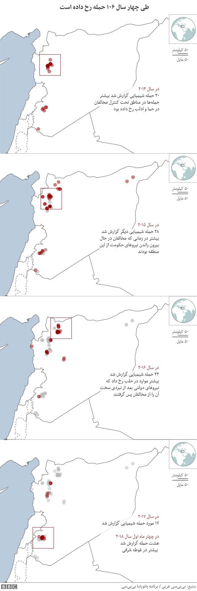 نقشه استفاده از سلاح های شیمیایی در جنگ سوریه