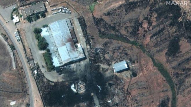 تصویر ماهوارهای محل انفجار در شرق تهران که شرکت ماکسار در اختبار بیبیسی قرار داده است