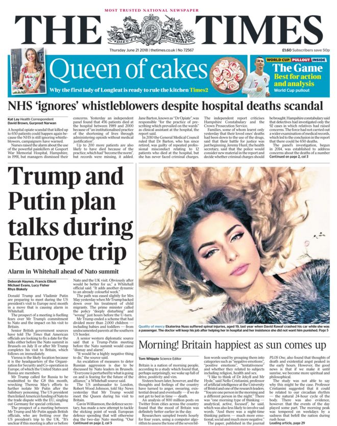 Times front page - 21/06/18