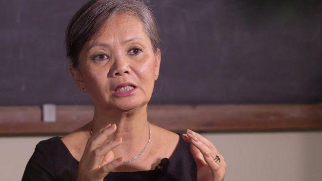 Cambodian opposition politician Mu Sochua talks to the BBC in Bangkok