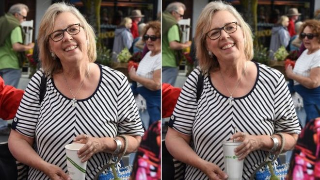 The original photo on the left shows Elizabeth May holding a compostable cup and the edited image on the right shows her holding a plastic reusable cup