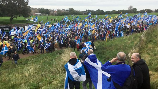 Independence supporters are gathering in Edinburgh ahead of Saturday afternoon's march