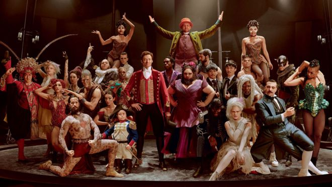 Hugh Jackman With The Cast Of Greatest Showman