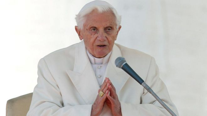Pope Benedict XVI speaks at the Vatican (February 27, 2013)
