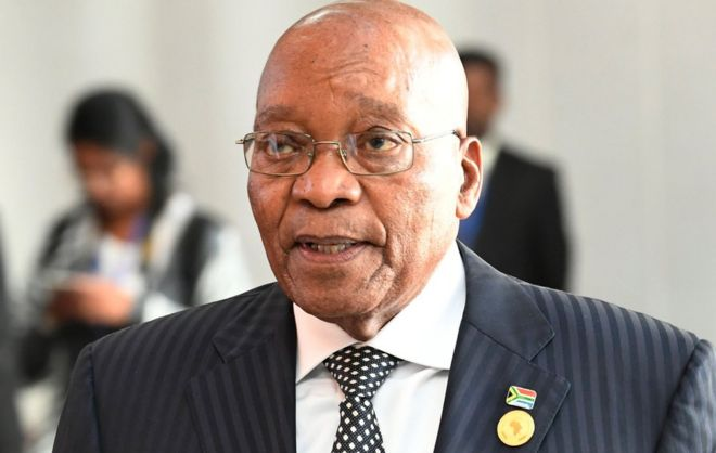 Former South African President Jacob Zuma pictured in a suit in January 2018