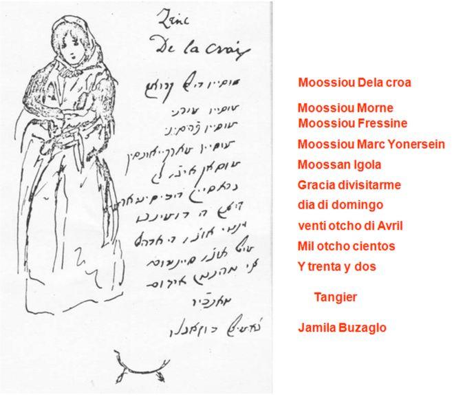 Mensaje de Jamila Buzaglo sobre dibujo de Eugene Delacroix, 1832. Traducido al judeoespañol de Marruecos, hakitía, por Jeffery Malka, sephardicgen.com.