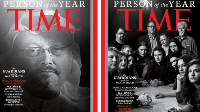 Time covers featuring Jamal Khashoggi and staff from the Capital Gazette