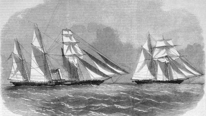 Ilustração de navio americano que transportava escravizados