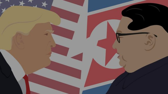 Ilustração com caras de Trump e Kim Jong-un