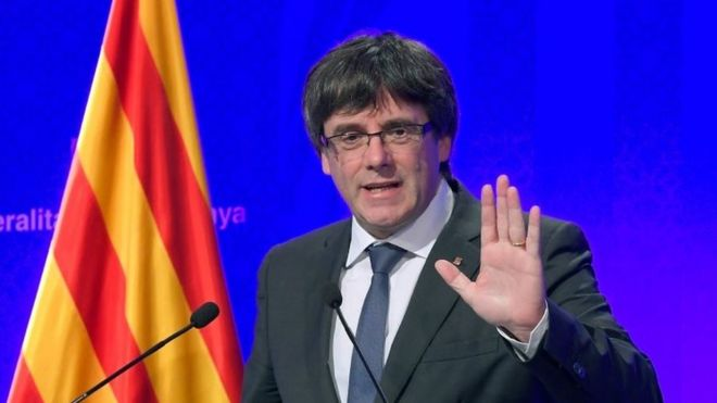 Catalan President Carles Puigdemont speaks at a news conference in Barcelona. Photo: 2 October 2017