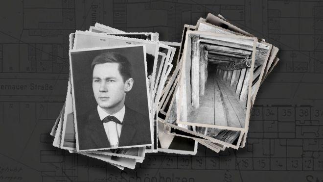 Joachim Rudolph con una foto del túnel que excavó