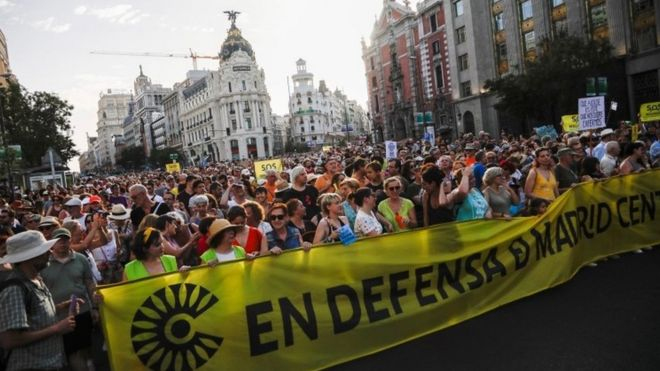 Protesta a favor de Madrid Central