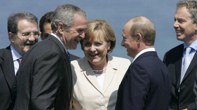 ميركل وعدد من زعماء العالم في 2007