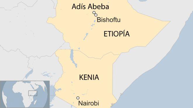 Mapa de Etiopía y Kenia
