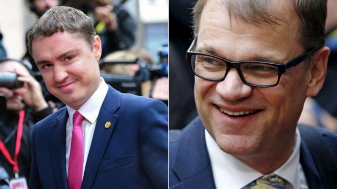 Премьер-министр Эстонии Таави Ройвас (слева) и премьер-министр Финляндии Юха Сипила