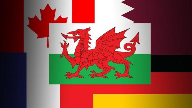 Флаги Уэльса, Канады, Катара, Франции и Германии