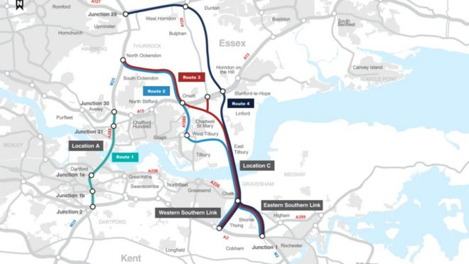 Lower Thames Crossing Map Lower Thames Crossing: Gravesend and Tilbury tunnel plan backed