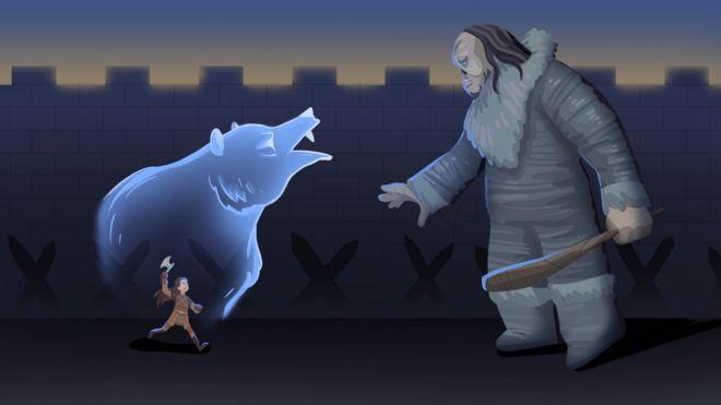 Ilustração de Lyanna Mormont correndo em direção ao gigante que matou em Game of Thrones